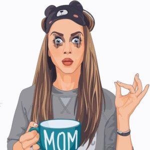 Beautiful mom speaking